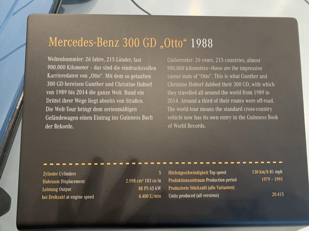 Mercedes-Benz Museum, Sonderausstellung 40 Jahre G-Klasse, OTTO Tafel