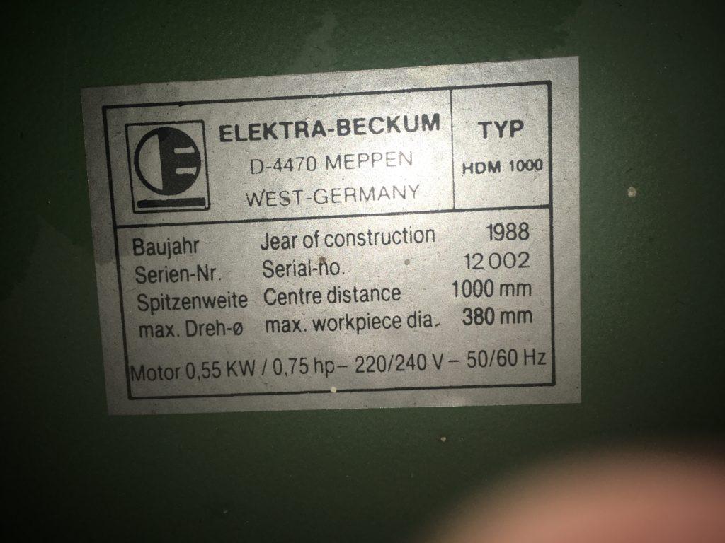 Holzbearbeitung Elektra-Beckum HDM1000 Drechselbank