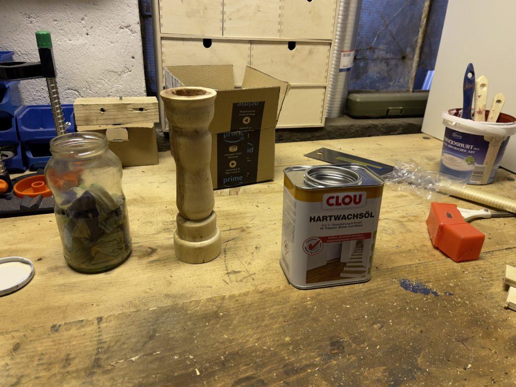 DIY Drechseln Kerzenständer Pflaume - Ölen